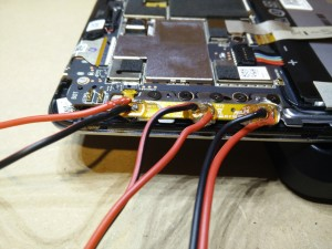 All 3 sets of wires soldered and epoxy'ed in place.